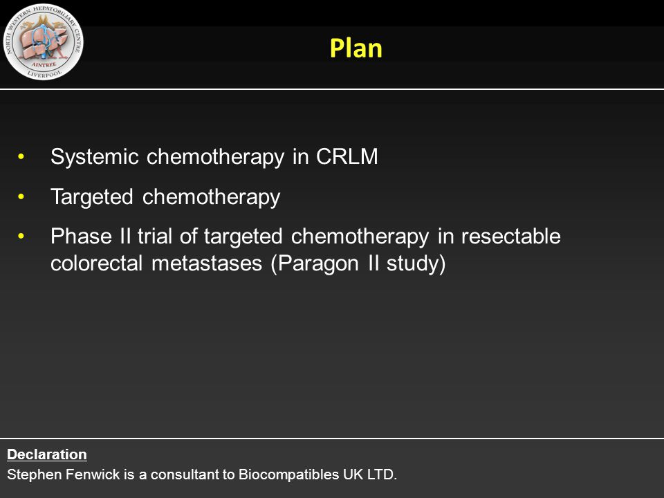 Plan Systemic chemotherapy in CRLM Targeted chemotherapy
