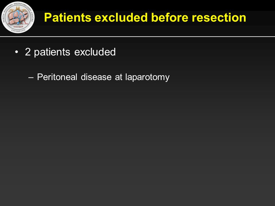 Patients excluded before resection