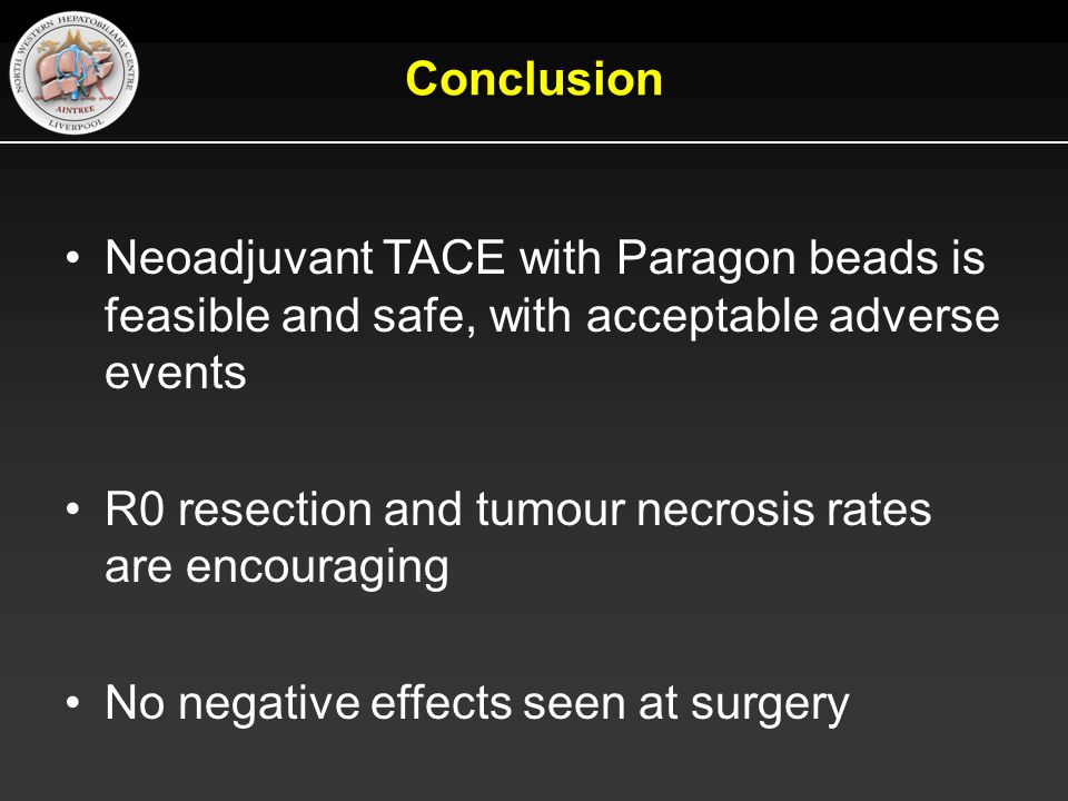Conclusion Neoadjuvant TACE with Paragon beads is feasible and safe, with acceptable adverse events.