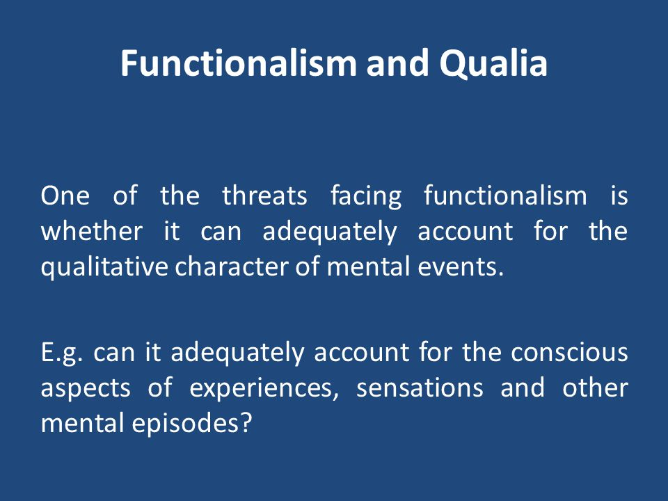 Functionalism and Qualia
