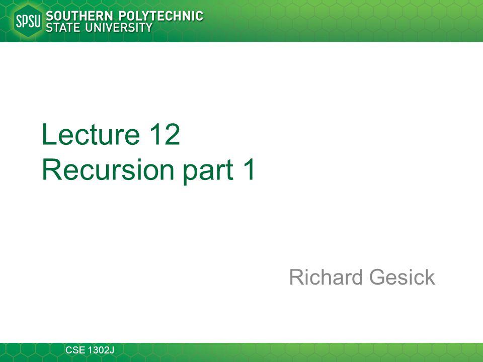 Lecture 12 Recursion part 1