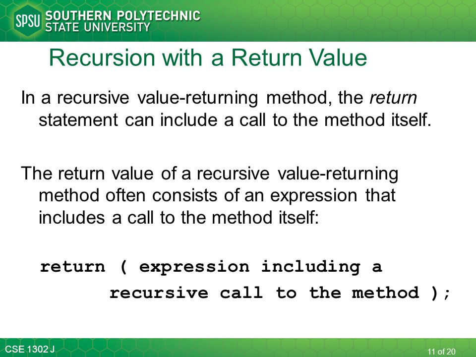 Recursion with a Return Value