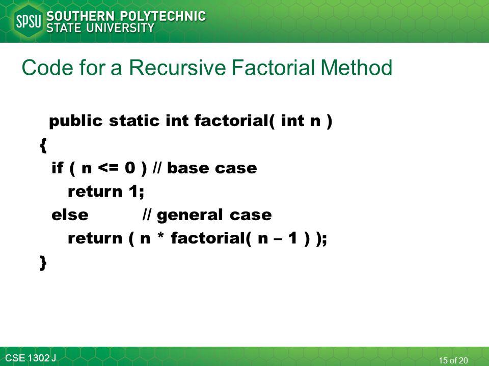 Code for a Recursive Factorial Method