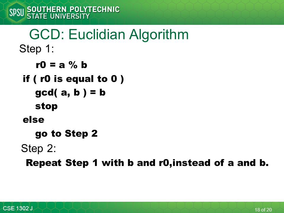 GCD: Euclidian Algorithm