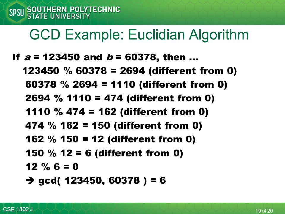 GCD Example: Euclidian Algorithm