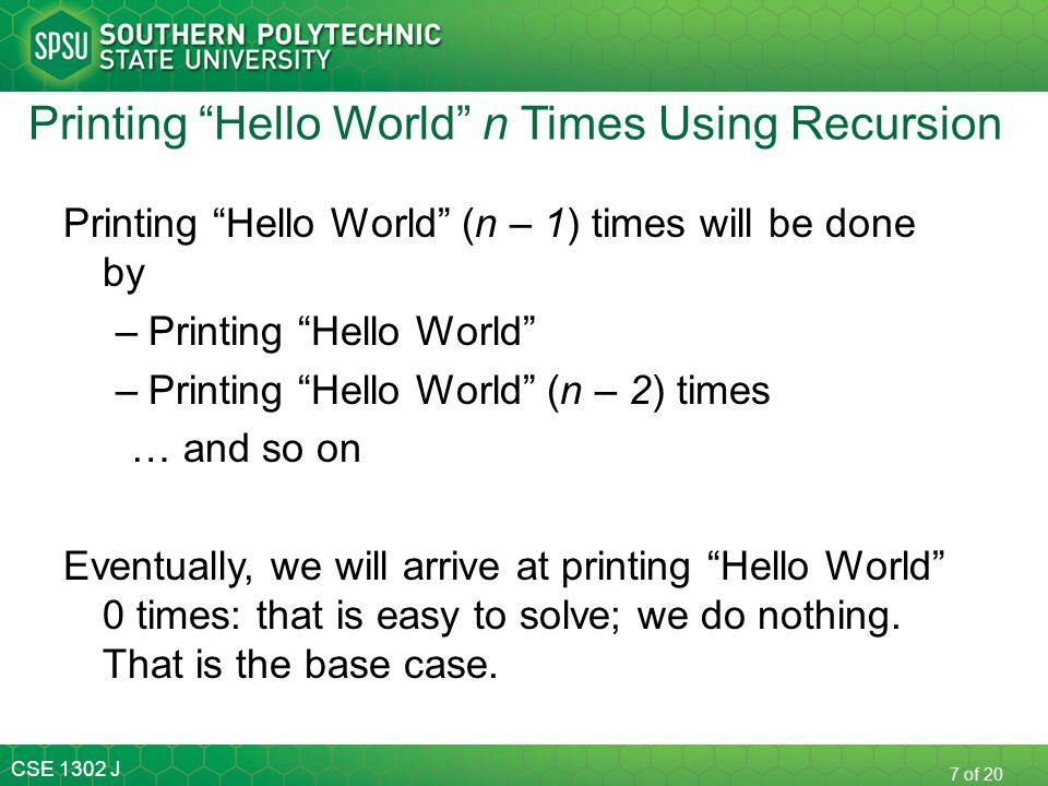 Printing Hello World n Times Using Recursion