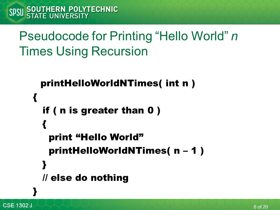 Pseudocode for Printing Hello World n Times Using Recursion