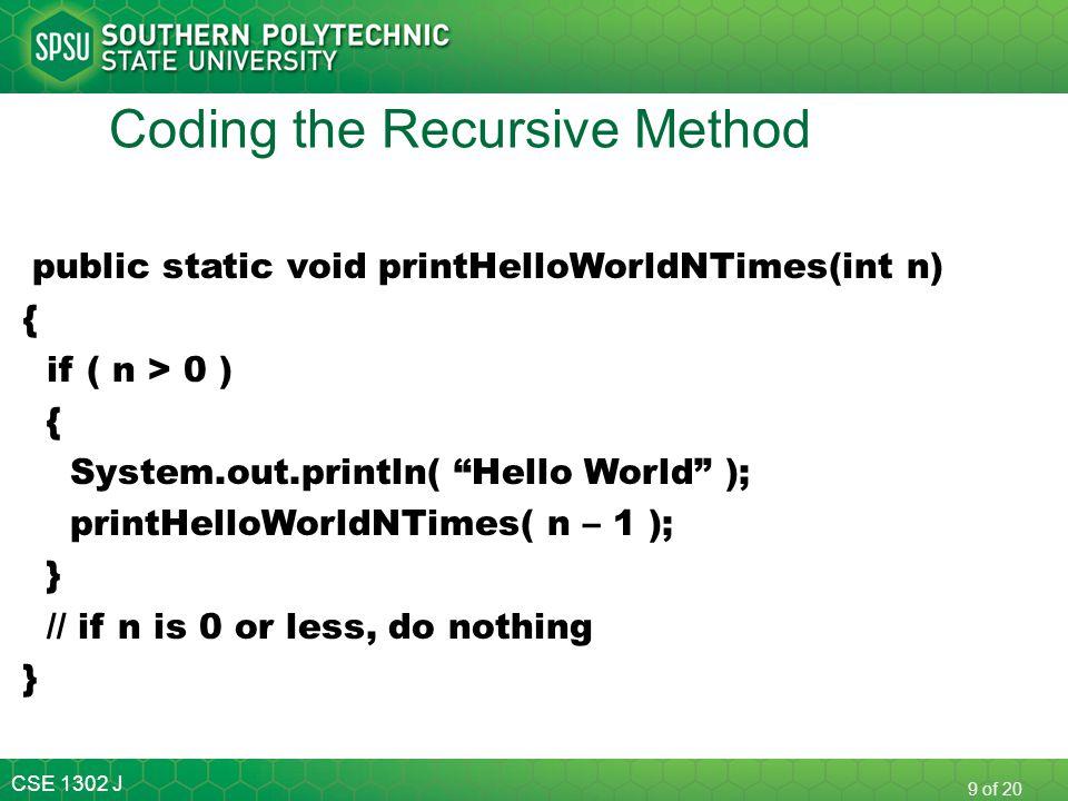 Coding the Recursive Method
