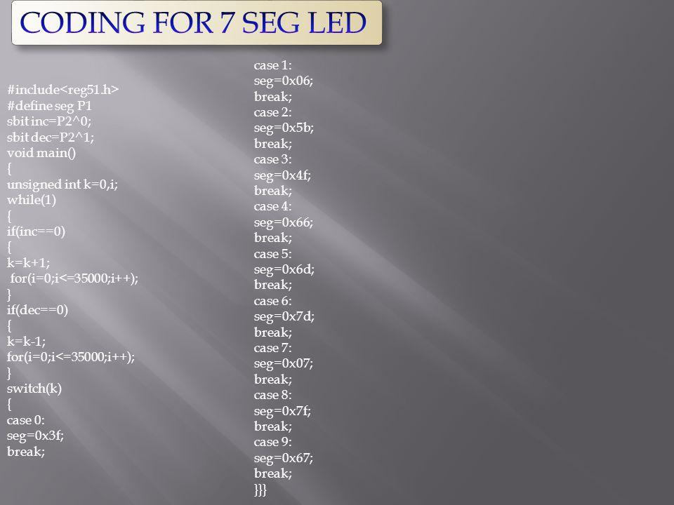 CODING FOR 7 SEG LED case 1: seg=0x06; break; case 2: