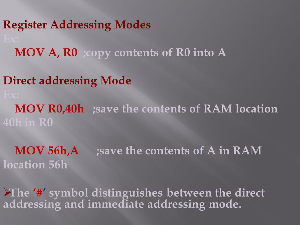 Register Addressing Modes