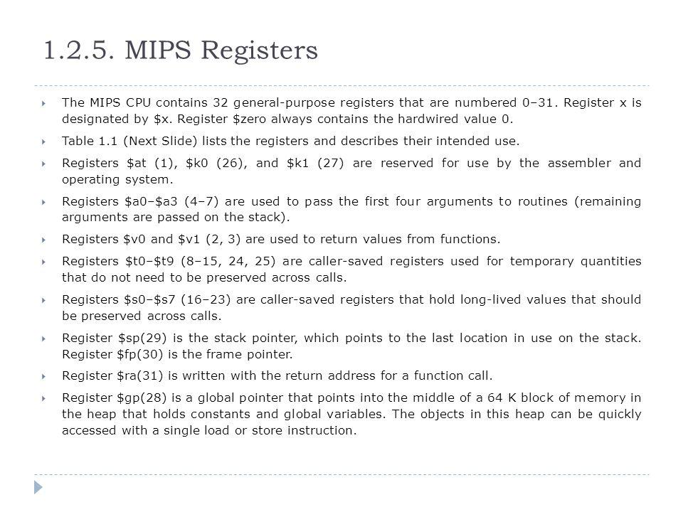 1.2.5. MIPS Registers