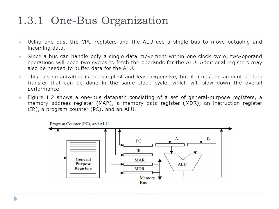 1.3.1 One-Bus Organization Using one bus, the CPU registers and the ALU use a single bus to move outgoing and incoming data.