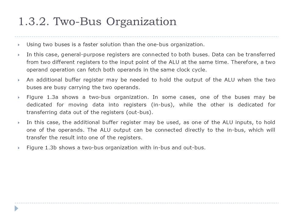1.3.2. Two-Bus Organization Using two buses is a faster solution than the one-bus organization.