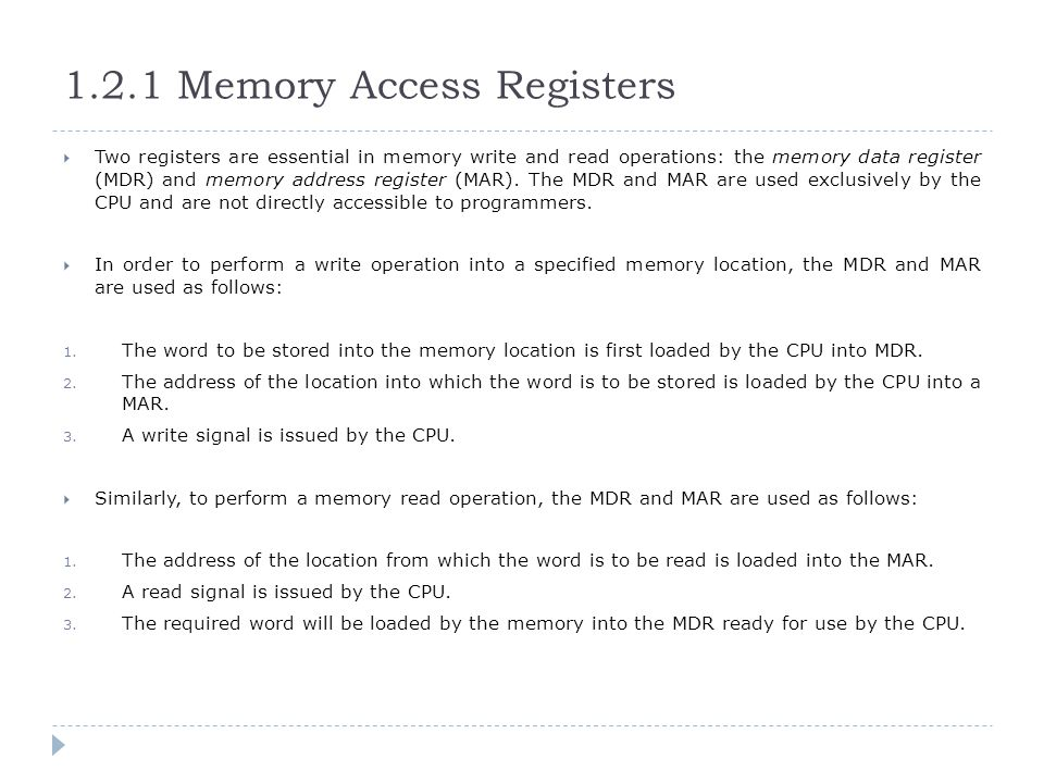 1.2.1 Memory Access Registers