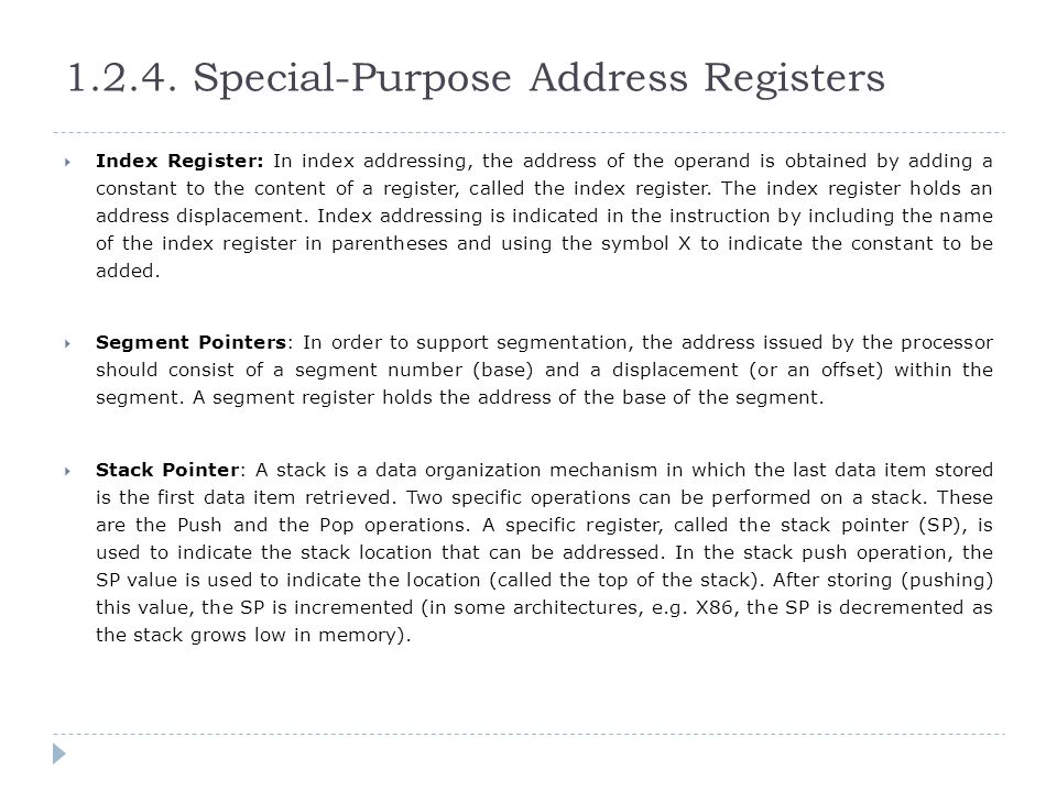 1.2.4. Special-Purpose Address Registers