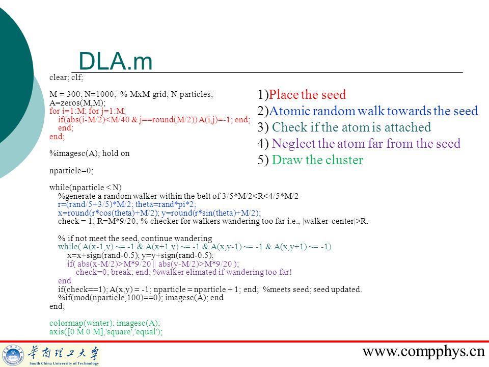 DLA.m 1)Place the seed 2)Atomic random walk towards the seed
