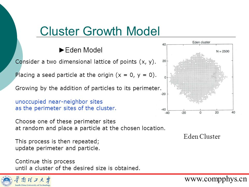 Cluster Growth Model Eden Model Eden Cluster