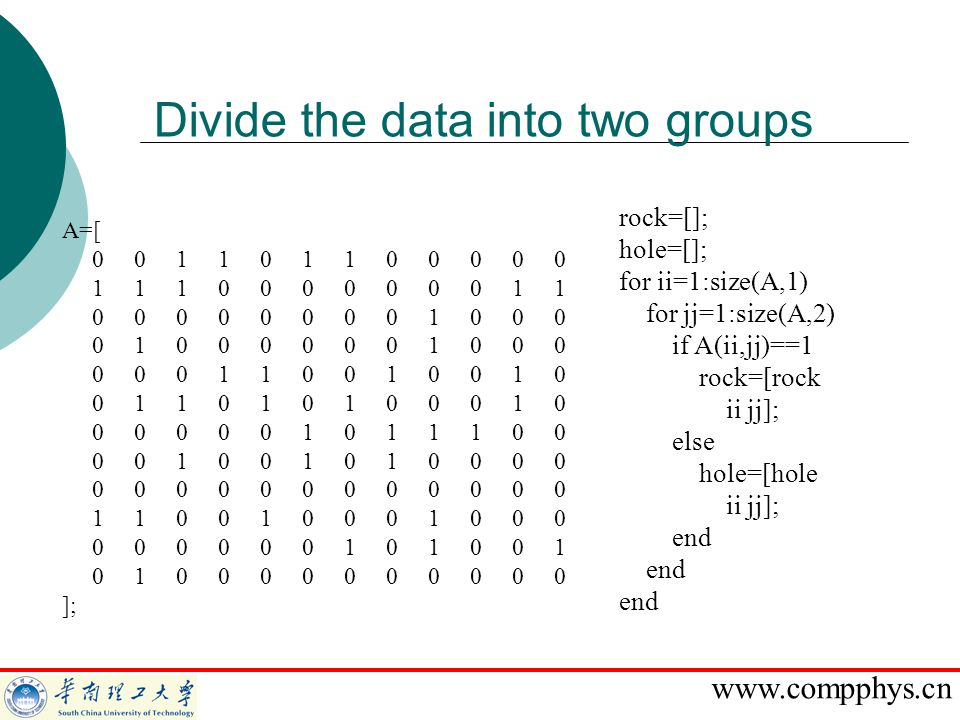 Divide the data into two groups
