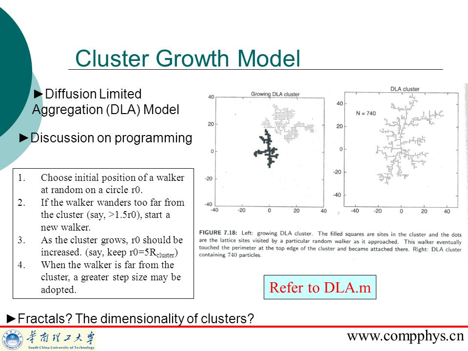 Cluster Growth Model Refer to DLA.m