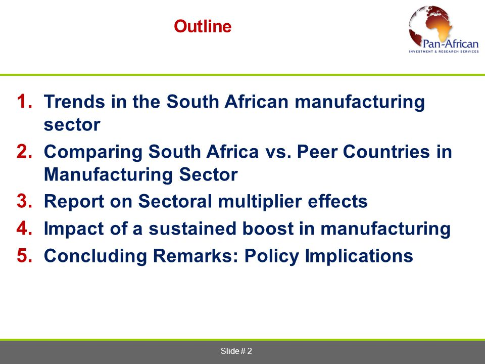 Trends in the South African manufacturing sector