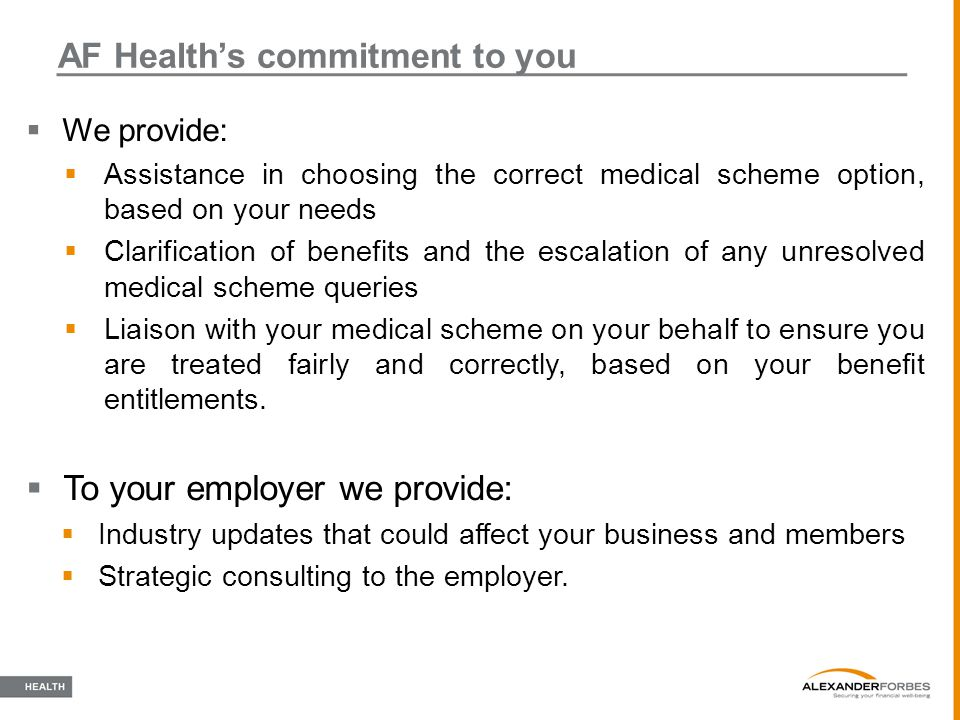 AF Health's commitment to you