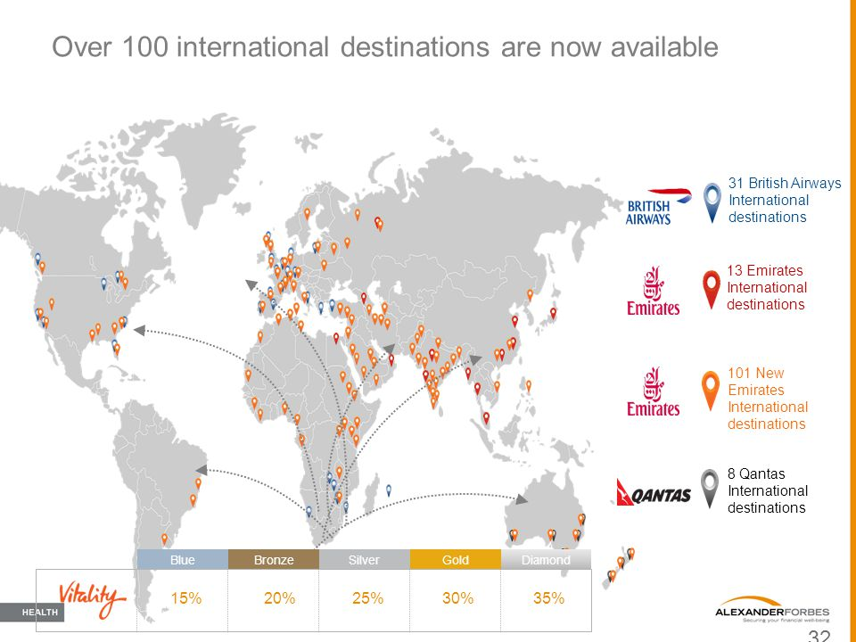 Over 100 international destinations are now available