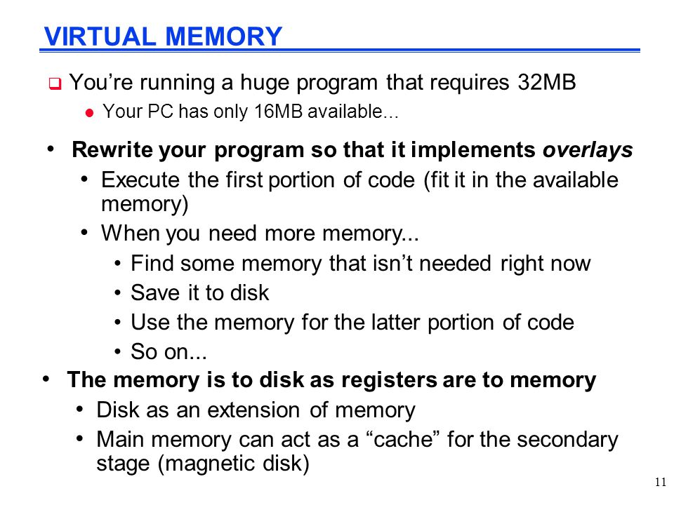 VIRTUAL MEMORY You're running a huge program that requires 32MB