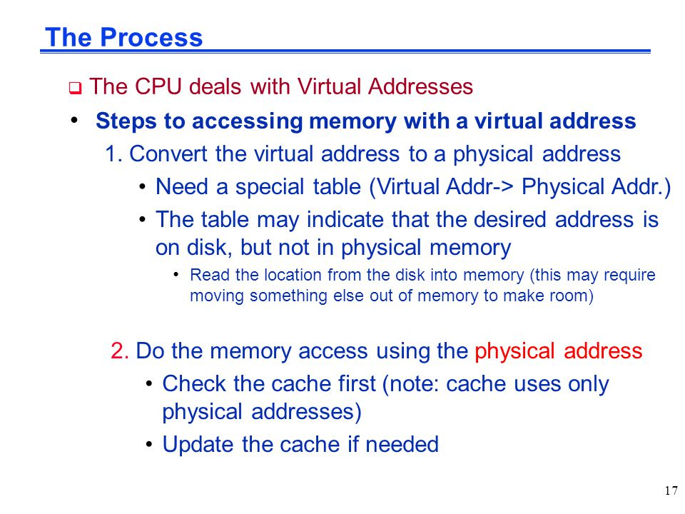 The Process The CPU deals with Virtual Addresses