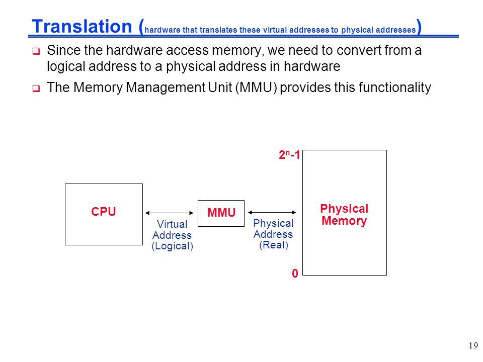 Translation (hardware that translates these virtual addresses to physical addresses)