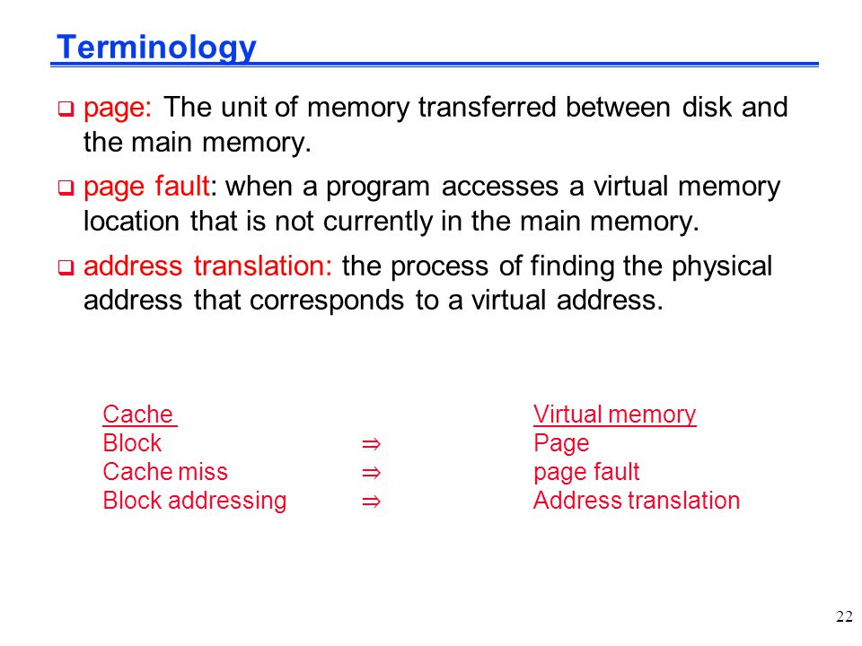 Terminology page: The unit of memory transferred between disk and the main memory.