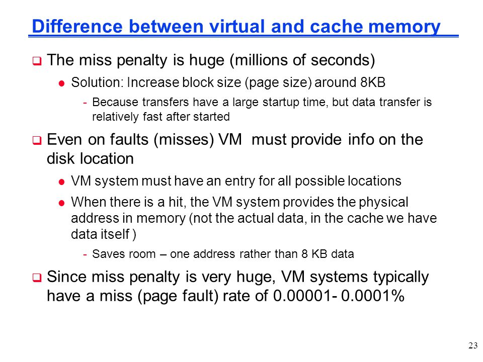 Difference between virtual and cache memory