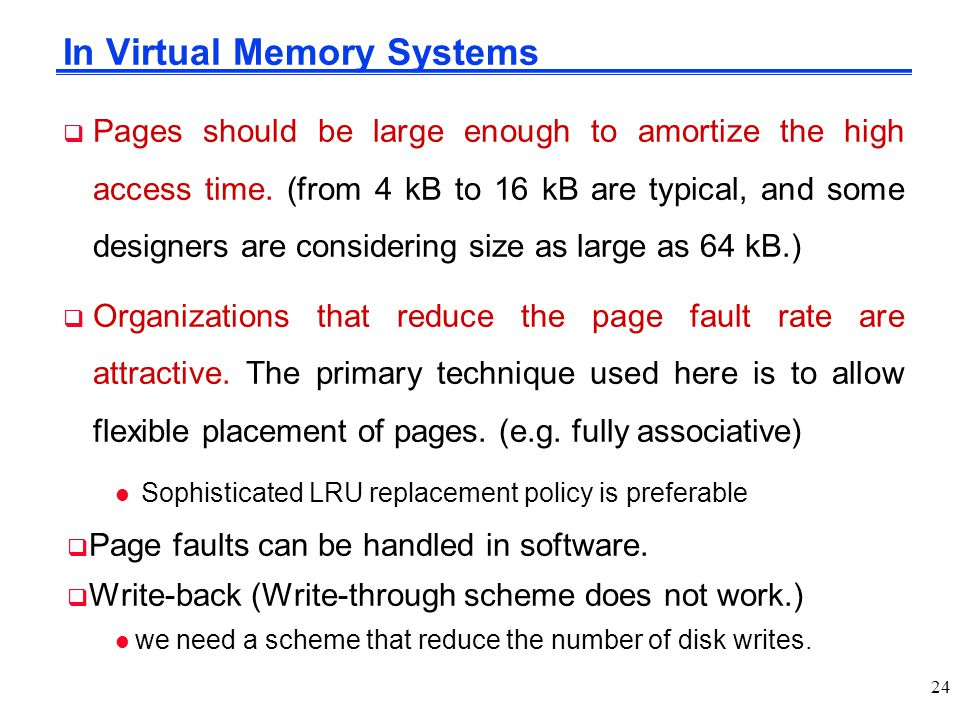 In Virtual Memory Systems