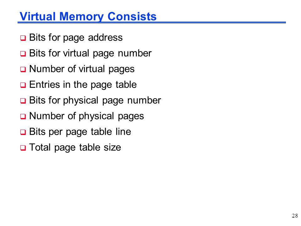 Virtual Memory Consists