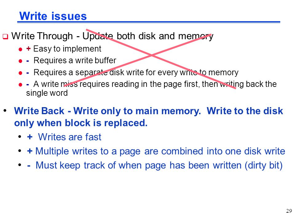 Write issues Write Through - Update both disk and memory