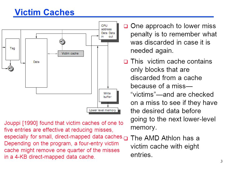 Victim Caches One approach to lower miss penalty is to remember what was discarded in case it is needed again.