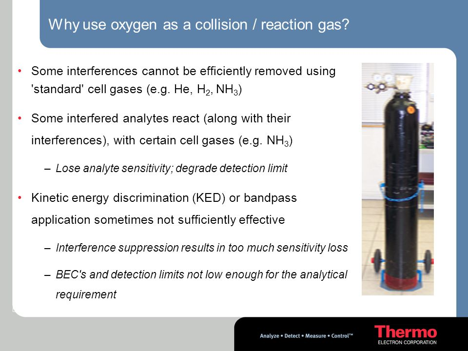 Why use oxygen as a collision / reaction gas