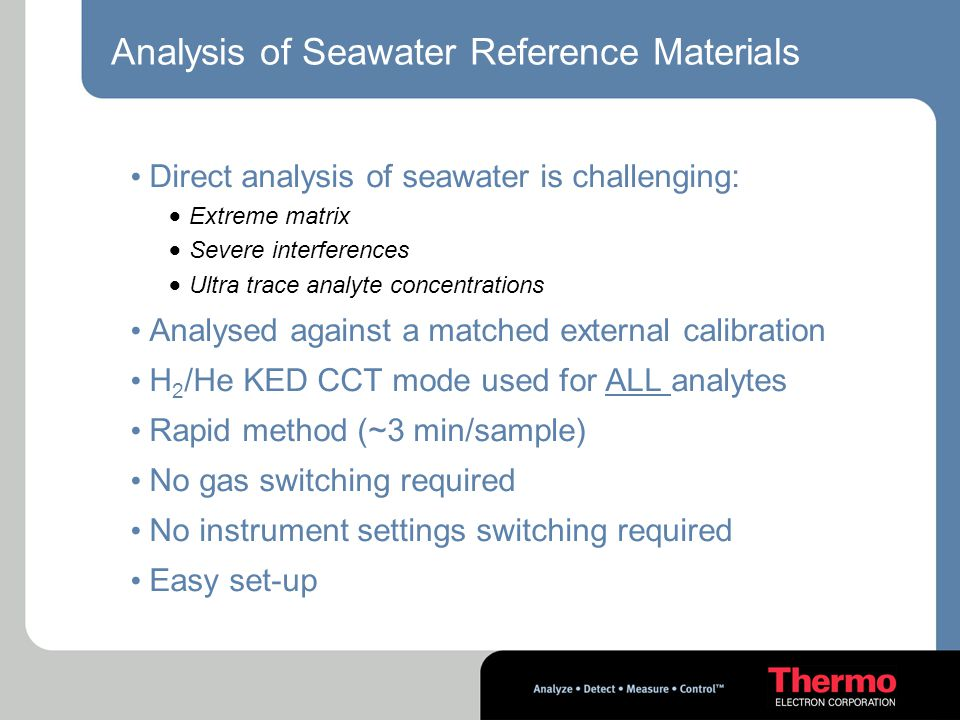Analysis of Seawater Reference Materials