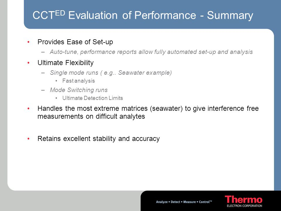 CCTED Evaluation of Performance - Summary