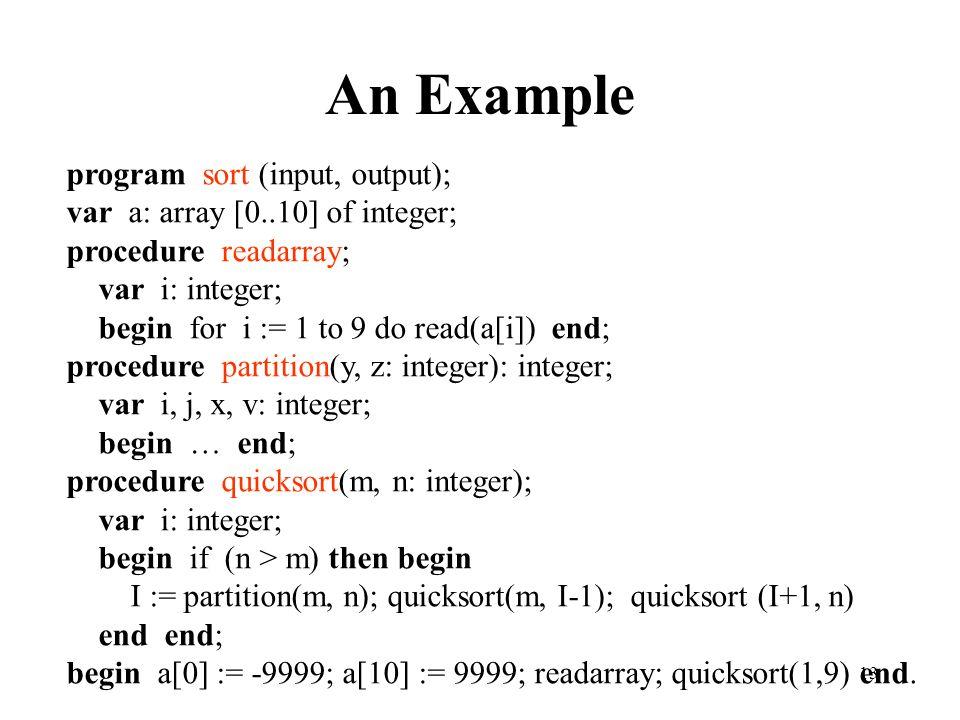 An Example program sort (input, output);