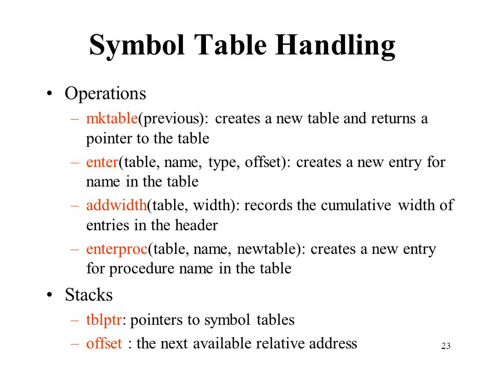 Symbol Table Handling Operations Stacks