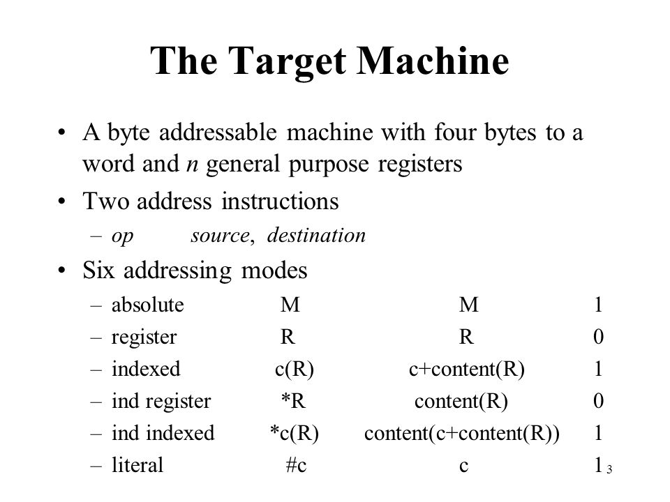 The Target Machine A byte addressable machine with four bytes to a word and n general purpose registers.