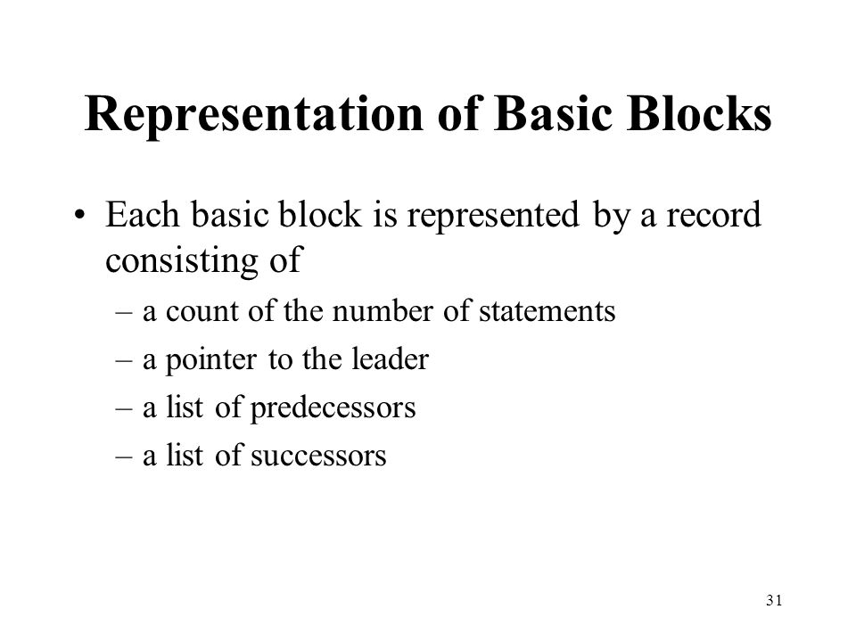 Representation of Basic Blocks