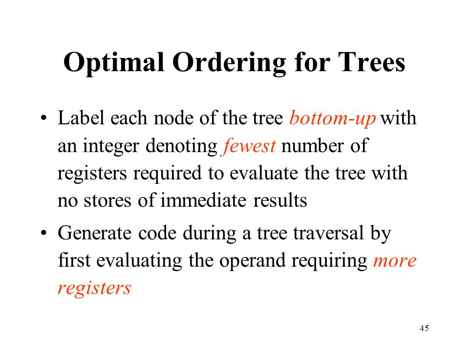 Optimal Ordering for Trees