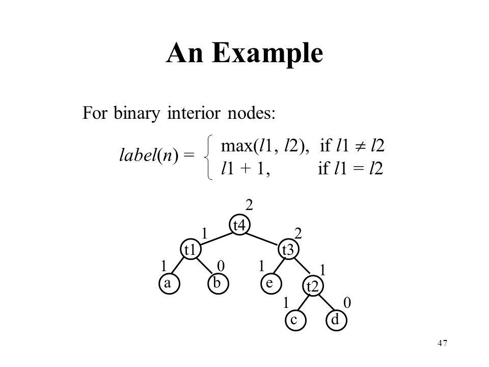 An Example For binary interior nodes: max(l1, l2), if l1  l2