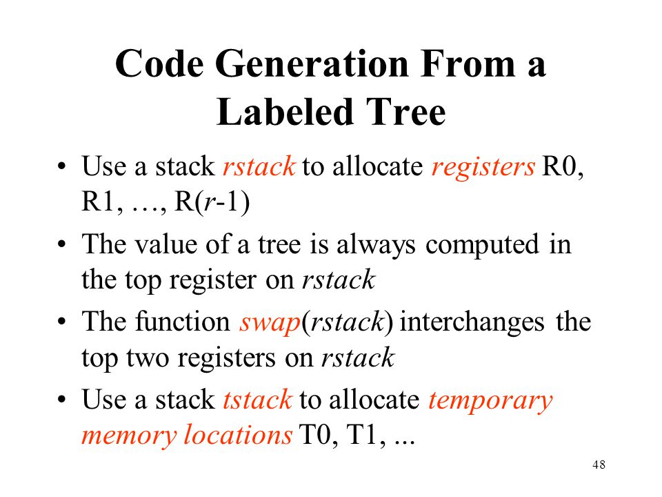 Code Generation From a Labeled Tree