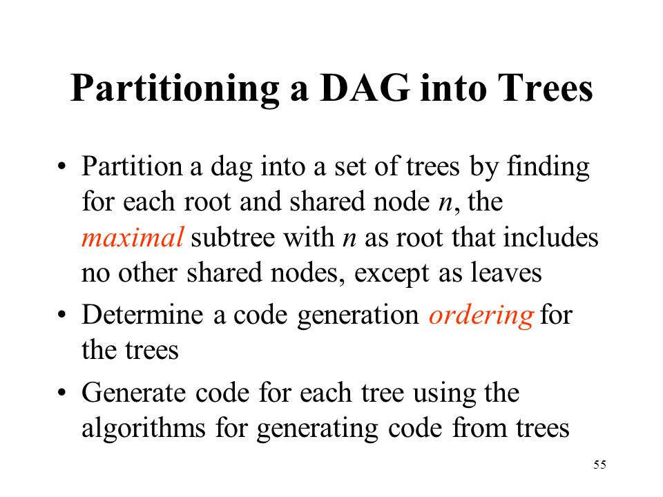 Partitioning a DAG into Trees