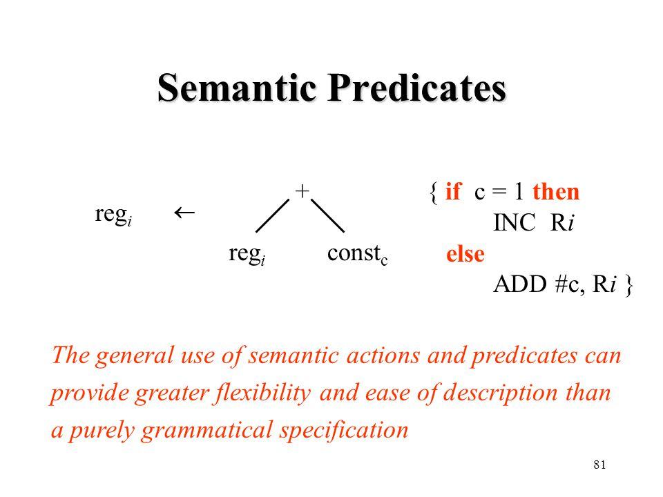Semantic Predicates + { if c = 1 then INC Ri else ADD #c, Ri } regi