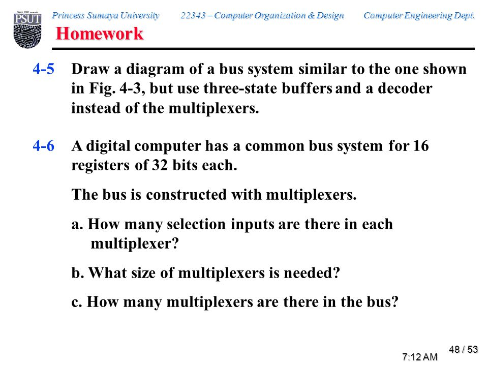Homework 4-8. Draw the block diagram for the hardware that implements the following statements: x + yz: AR ← AR + BR.