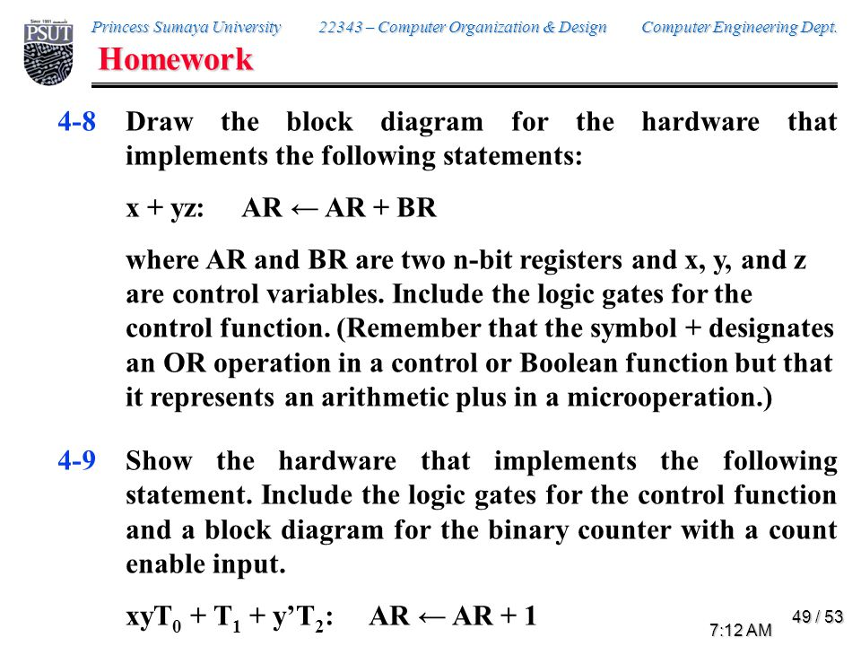 Homework Consider the following register transfer statements for two 4-bit registers R1 and R2.
