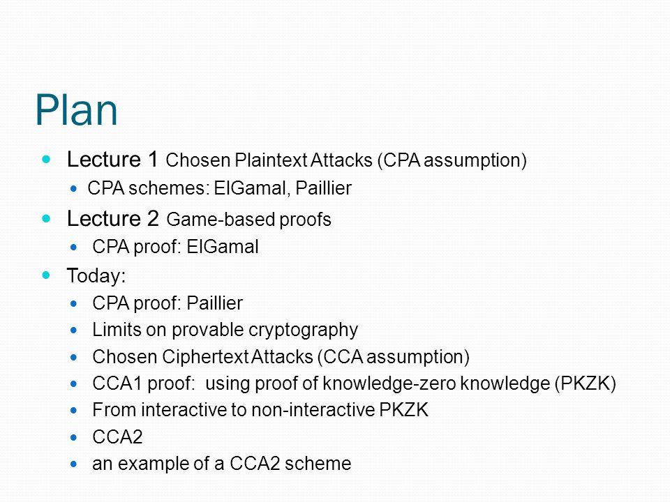 Plan Lecture 1 Chosen Plaintext Attacks (CPA assumption)